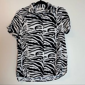 Twik Zebra Print Button Up Short Sleeve Shirt Medium Funky Bold Pattern